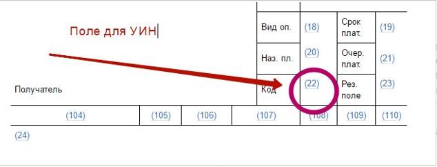 поле для УИН в платежном поручении (код 22)