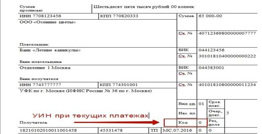 поле (код) для заполнения УИН в платежном поручении