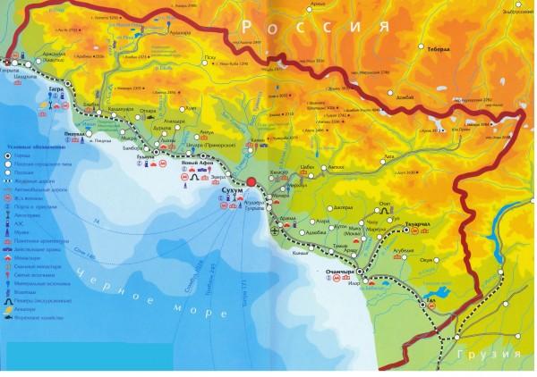 Побережье Абхазии на карте России